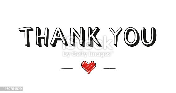 Hand lettering thank you with cute little red doodle heart quote