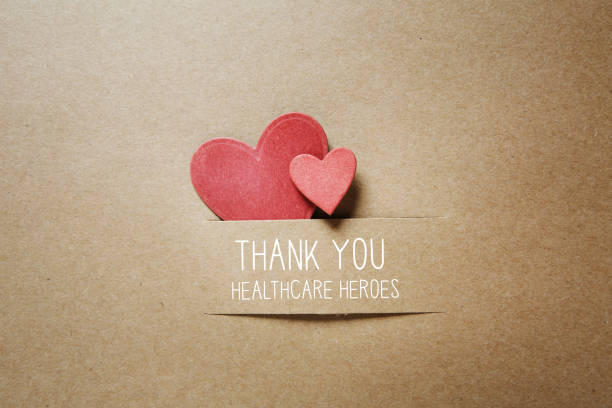 Thank You Healthcare Heroes message with small hearts