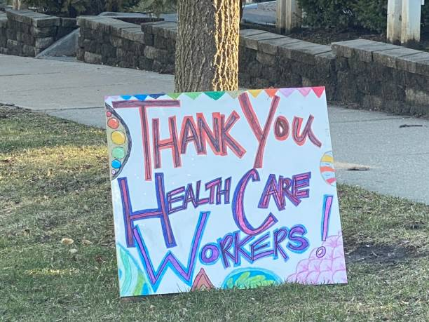 Thank You Healthcare Workers Sign stock photo