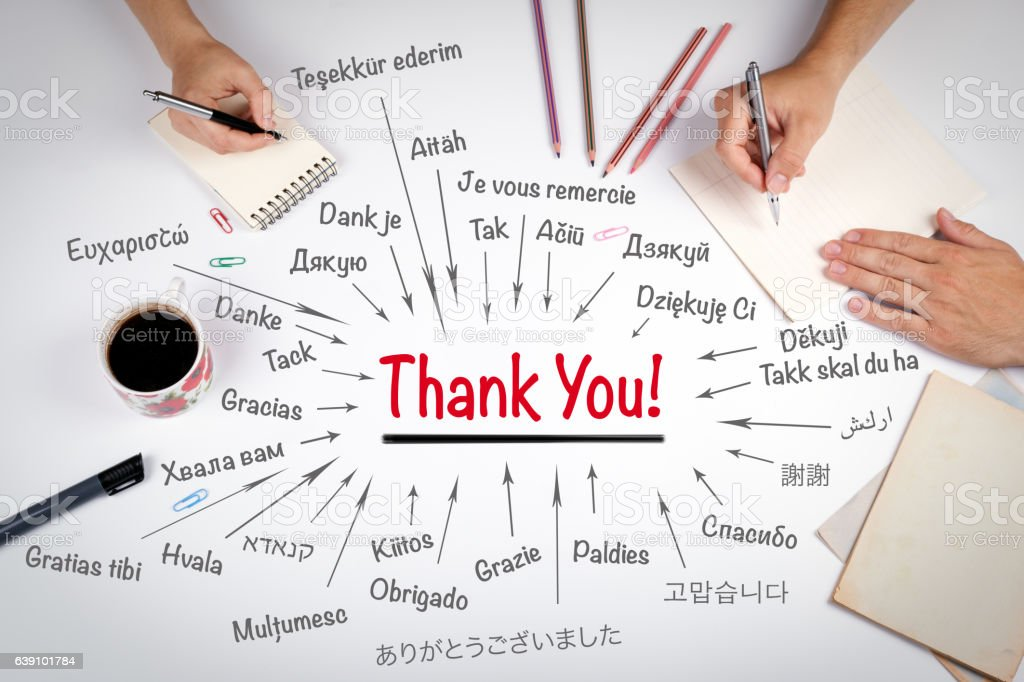 Thank You in different languages of the world. The stock photo