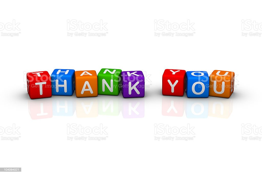 Thank you letter block in various colors stock photo