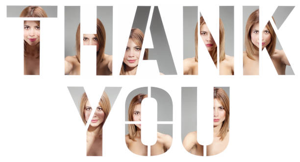thank you made of female portraits - people stencils silhouette stock photos and pictures