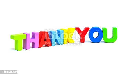 Thank You magnetic letters isolated on white background