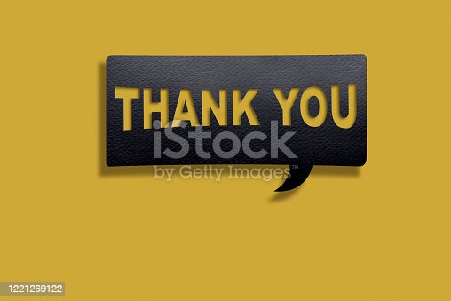 1128272390 istock photo Thank You Message on Black Speech Bubble on Yellow Background with clipping path. 1221269122