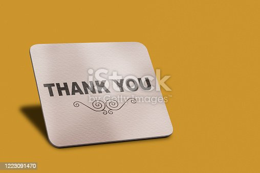1128272390 istock photo Thank You Message on White Banner on Yellow Background with clipping path. 1223091470