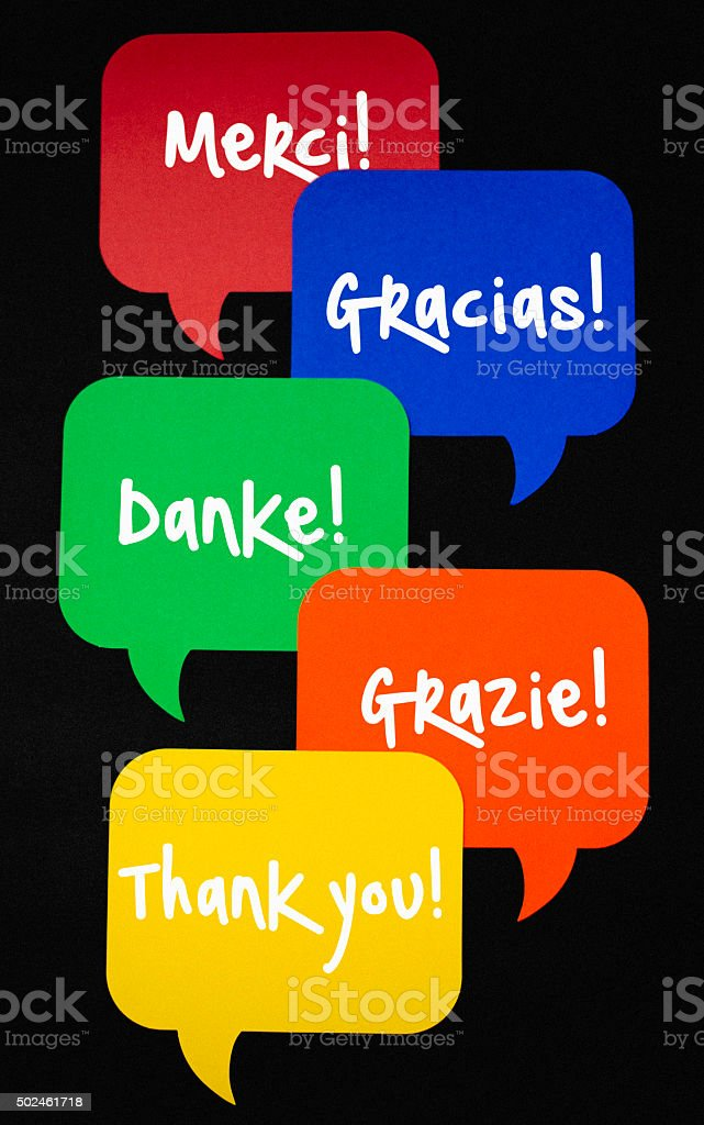 Thank you messages in different languages on speech bubbles stock photo