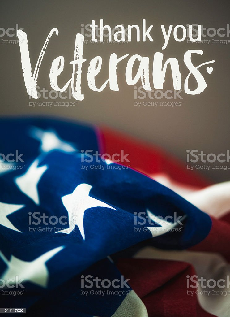 Thank you military veterans. Patriotc message with American flag stock photo