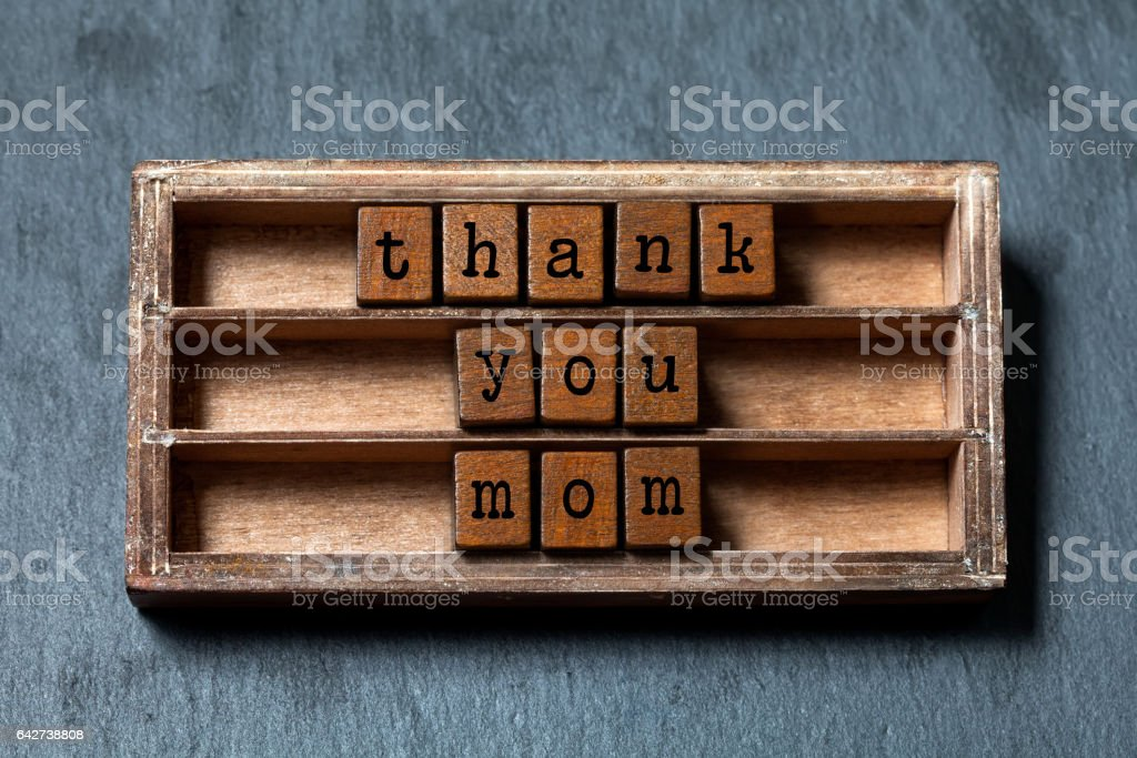 Thank You Mom Quote Mothers Day Concept Retro Greeting Card Vintage ...
