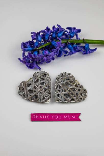 Thank you mum with hearts and flower stock photo