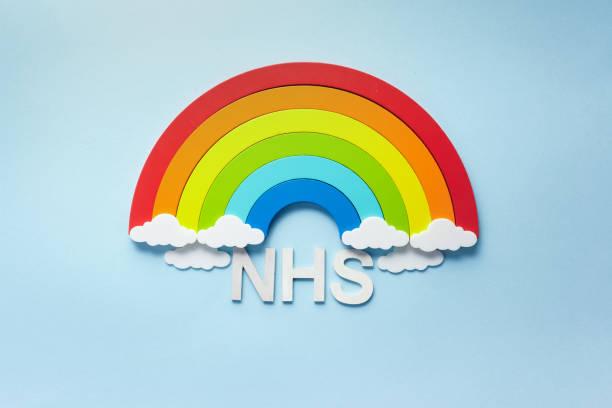 Danke nhs Regenbogen Banner. Regenbogen ob blauen Hintergrund mit Buchstaben – Foto