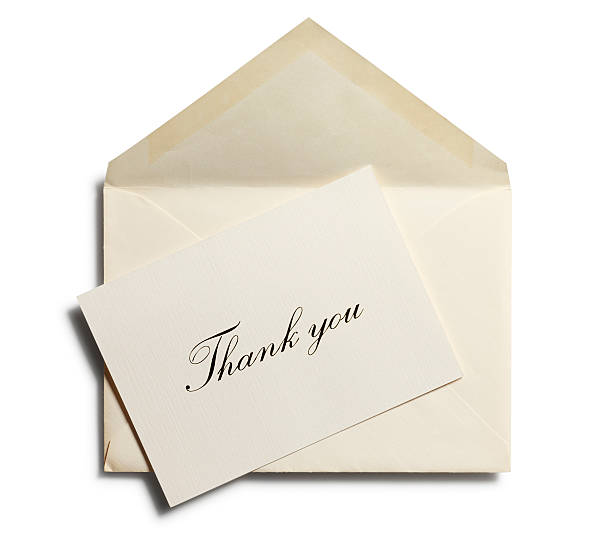 thank you note against an open envelope isolated - note message stock photos and pictures