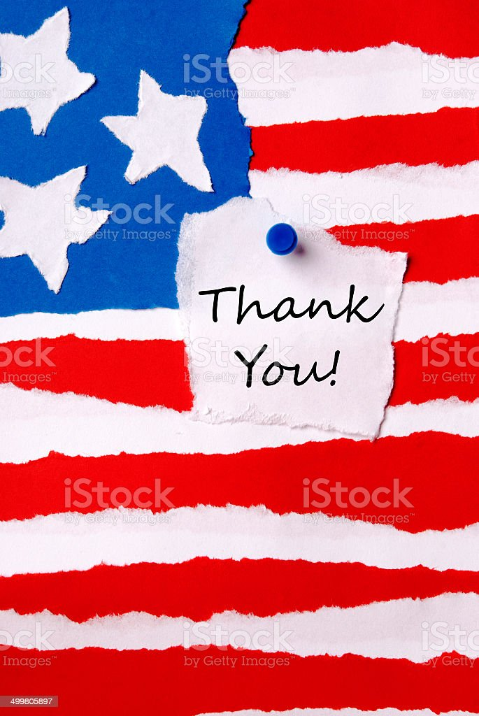 Thank You Note on American Paper Flag stock photo