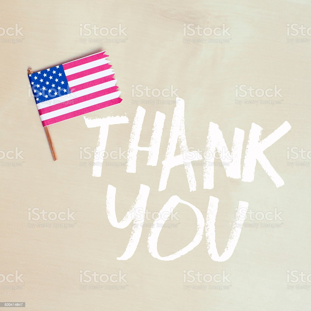 Thank You Note with American flag stock photo