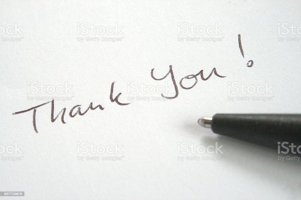 Thank You note written with ball pen stock photo