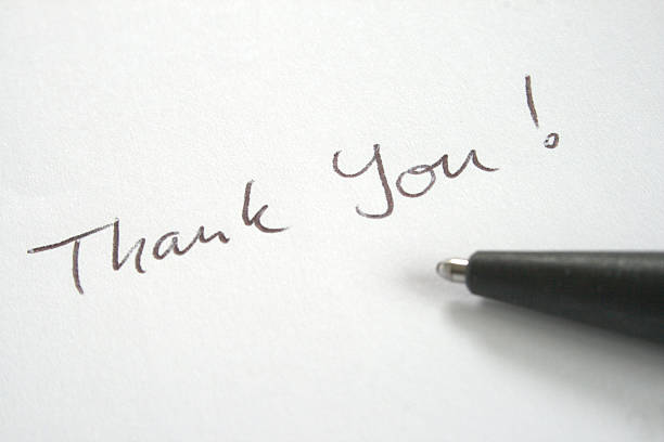 thank you note written with ball pen - mot photos et images de collection