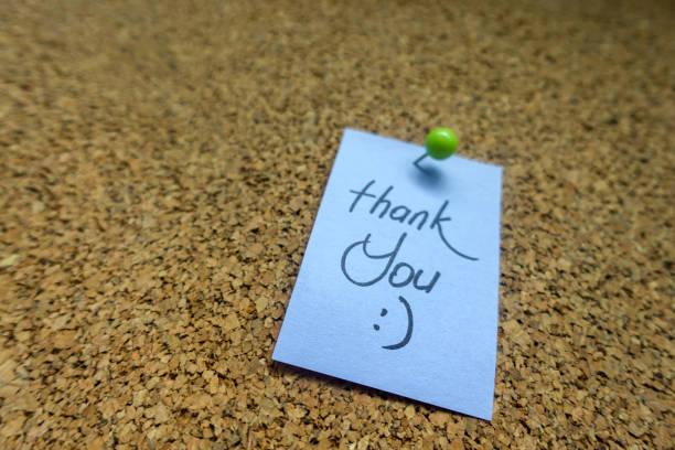 Thank You On Blue Sticky Note stock photo