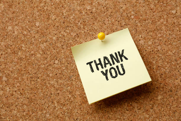 Thank You On Yellow Sticky Note stock photo