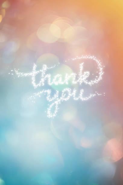 感謝短語形成閃亮的五彩紙屑與多彩的背景 - thank you background 個照片及圖片檔