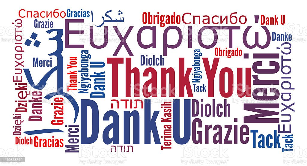Thank you phrase in many languages stock photo