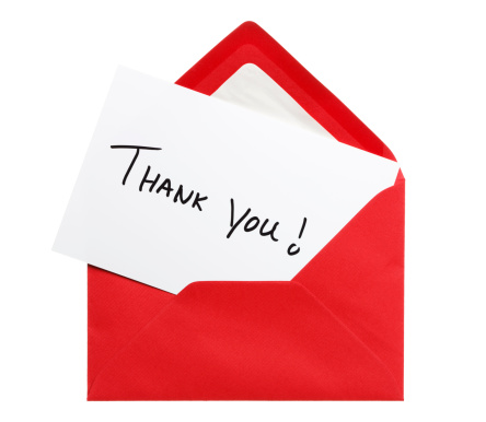 Thank You note in red envelope. Isolated on white