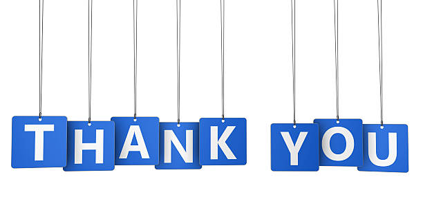 Thank You Sign Blue Paper Tags stock photo