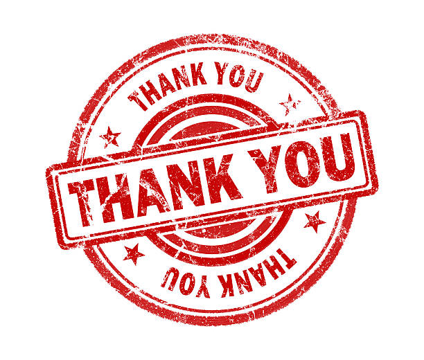 thank you stamp on white background stock photo