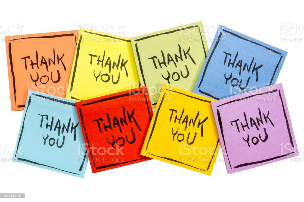 thank you sticky note abstract stock photo