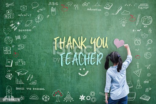 istock Thank You Teacher greeting for World teacher's day concept with school student back view drawing doodle of of learning education graphic freehand illustration icon on green chalkboard 977488078