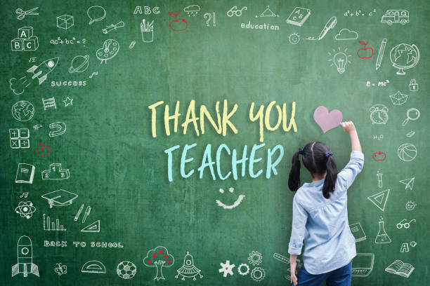thank you teacher greeting for world teacher's day concept with school student back view drawing doodle of of learning education graphic freehand illustration icon on green chalkboard - ammirazione foto e immagini stock
