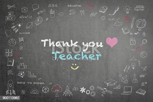 977488078 istock photo Thank you teacher greeting on school chalkboard 900113962