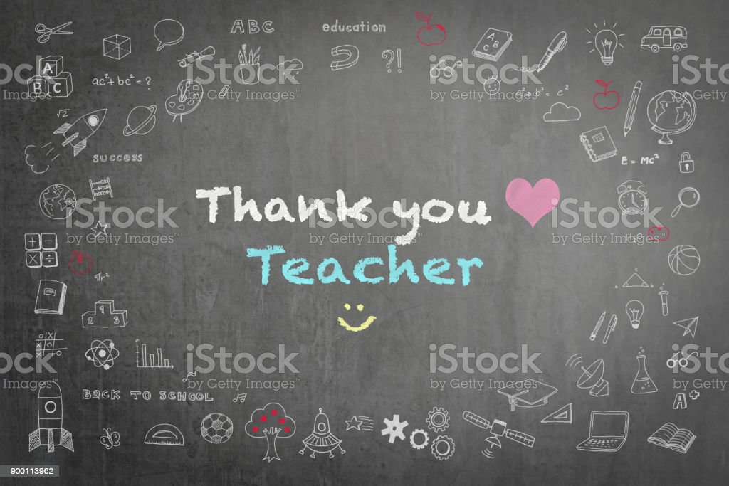 Thank you teacher greeting on school chalkboard stock photo