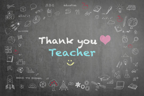 thank you teacher greeting on school chalkboard - ammirazione foto e immagini stock