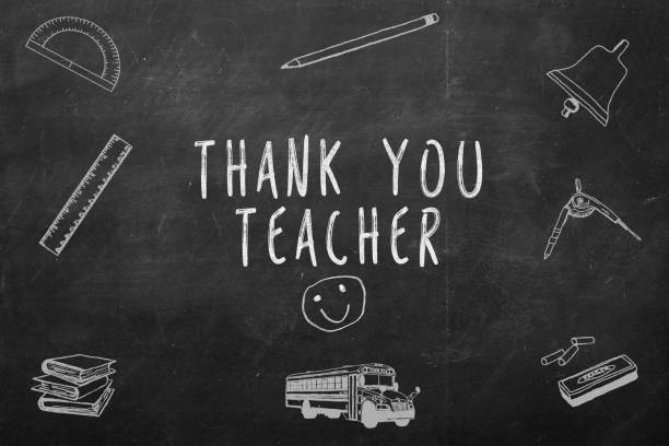 thank you teacher handwritten on a chalkboard - teachers day stock photos and pictures