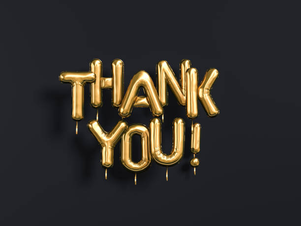 thank you text gold foil balloons on black - thank you stock pictures, royalty-free photos & images