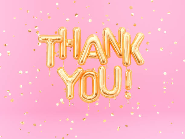 thank you text gold foil balloons on pink background - thank you стоковые фото и изображения