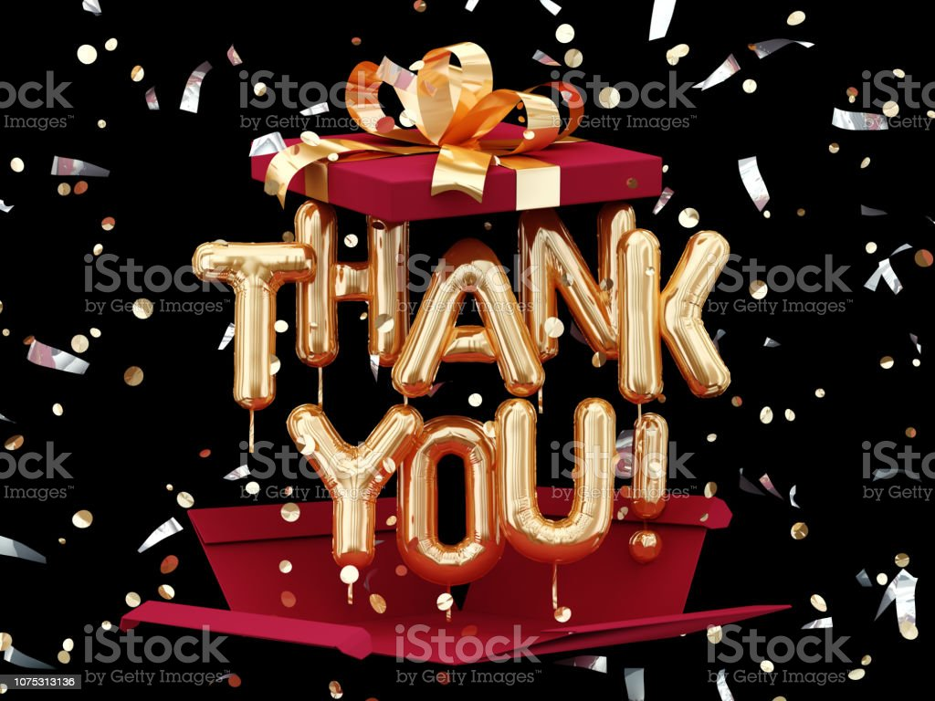 Thank You text on black background stock photo