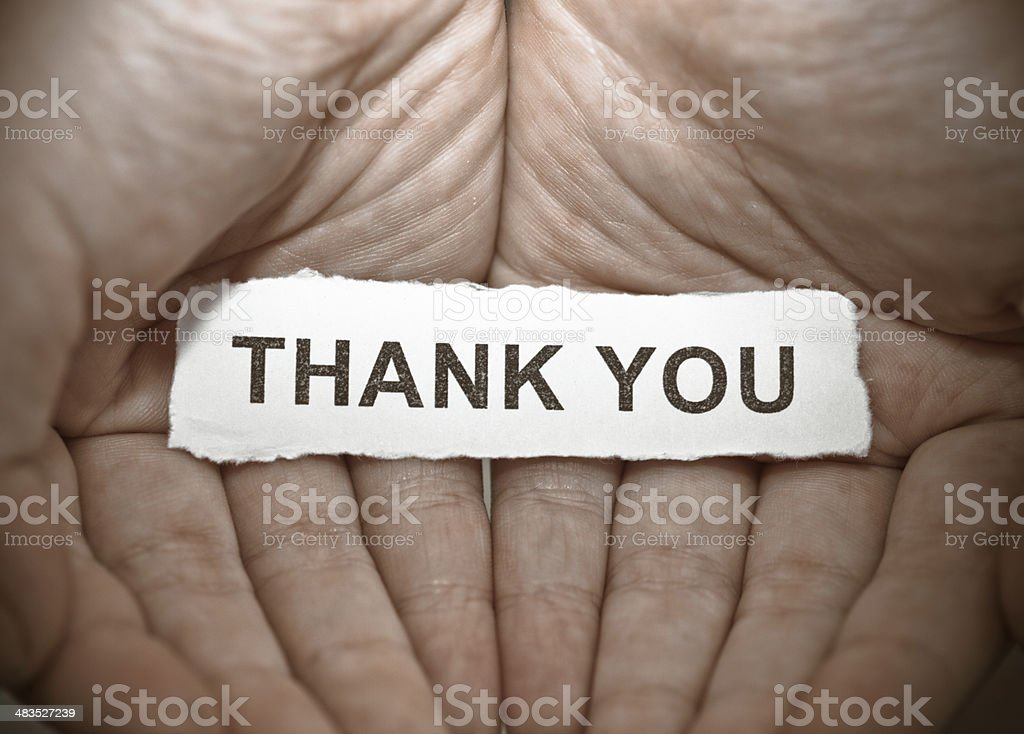 Thank you text on hand royalty-free stock photo