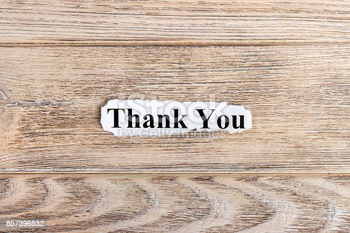 1094837778 istock photo thank you text on paper. Word thank you on torn paper. Concept Image 857396532