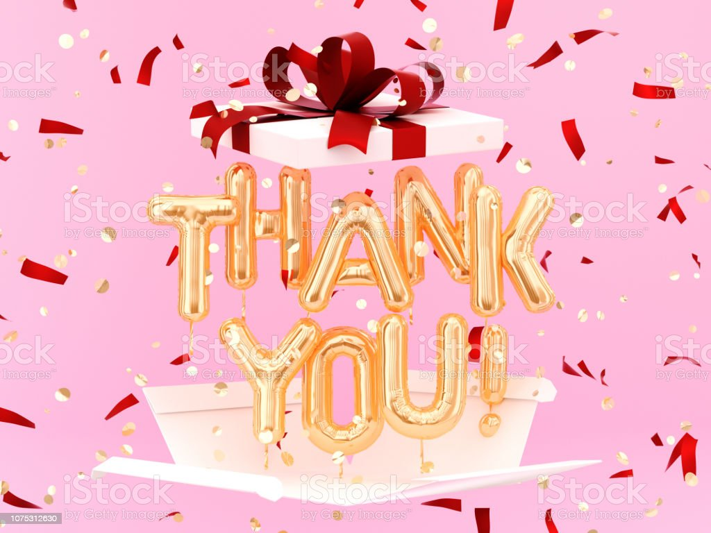 Thank You text on pink background stock photo