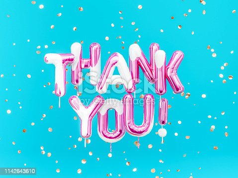 istock Thank You text sign art creative colors balloons 1142643610