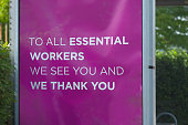 istock Thank You to Essential Workers Sign on Bus Shelter 1257430207
