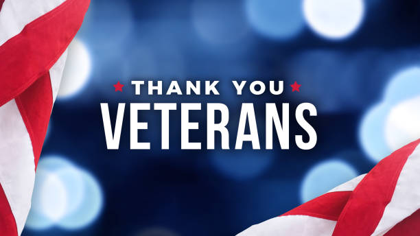 thank you veterans text with american flag over blue lights background for memorial day and veterans day holidays - veterans day zdjęcia i obrazy z banku zdjęć