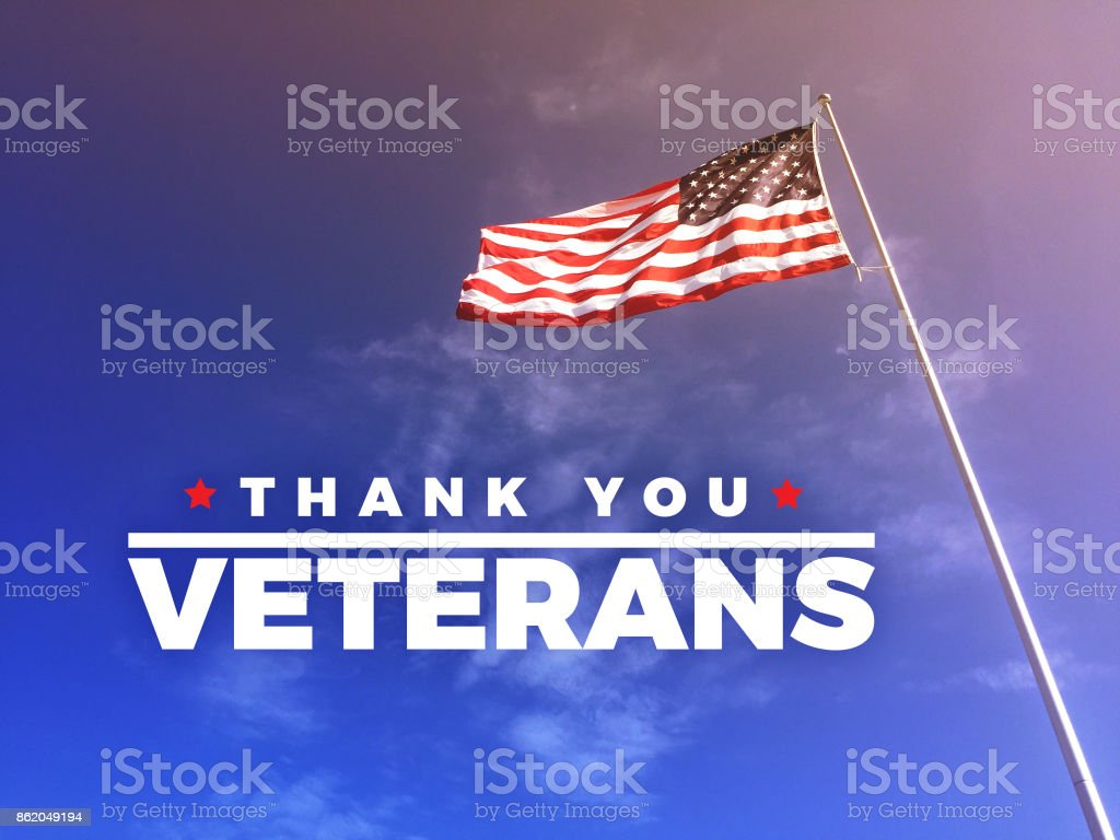 Thank You Veteran's Text with American Flag stock photo