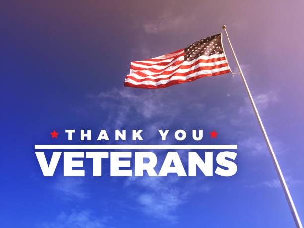 thank you veteran's text with american flag - veterans day стоковые фото и изображения