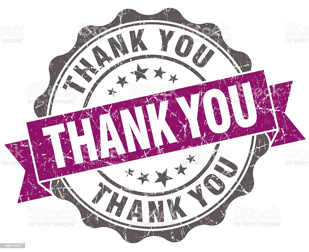 Thank you violet grunge retro style isolated seal royalty-free stock photo