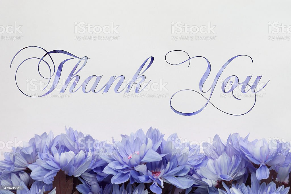 Thank you with flower decoration stock photo