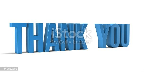 istock Thank you word. 3D Render illustration in white background - Illustration 1142892565