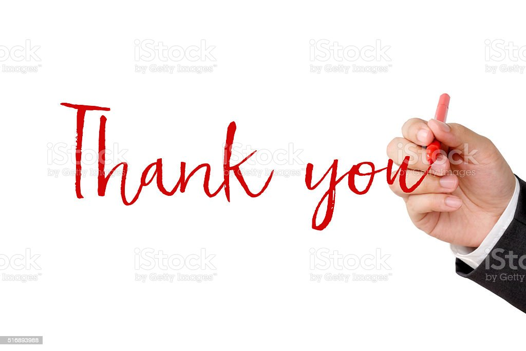 Thank you word and businessman hand holding pen stock photo
