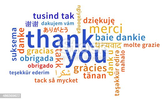 Thank you text in large letters central, with smaller multi-language text (meaning the same) all around. All words start with lower case letters. Clean and simple design.