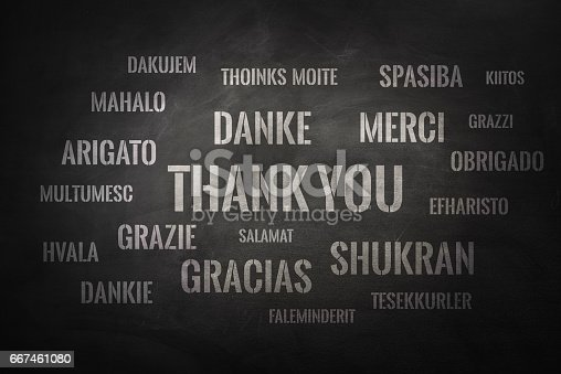 istock Thank you word cloud written in many different languages on a chalkboard 667461080